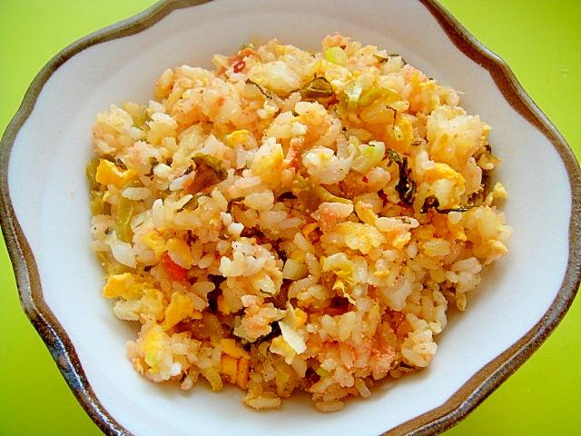 4.高菜漬けと明太チーズチャーハン