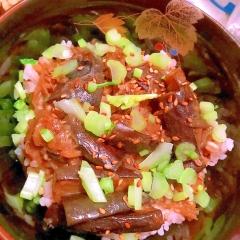 茄子と茗荷の生姜蕎麦粉あんかけ丼