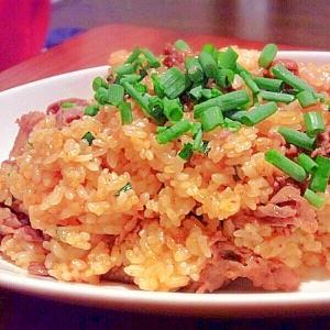 タコキムチと牛肉のチャーハン