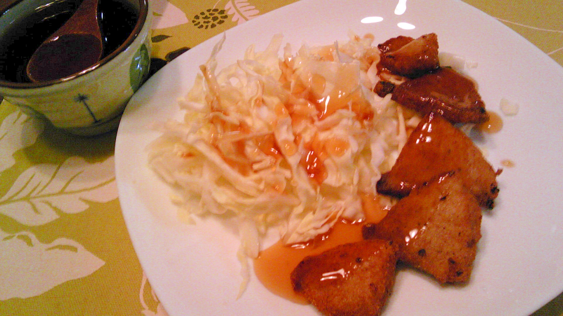 豚もも肉の塩麹唐揚げ、黒酢だれ