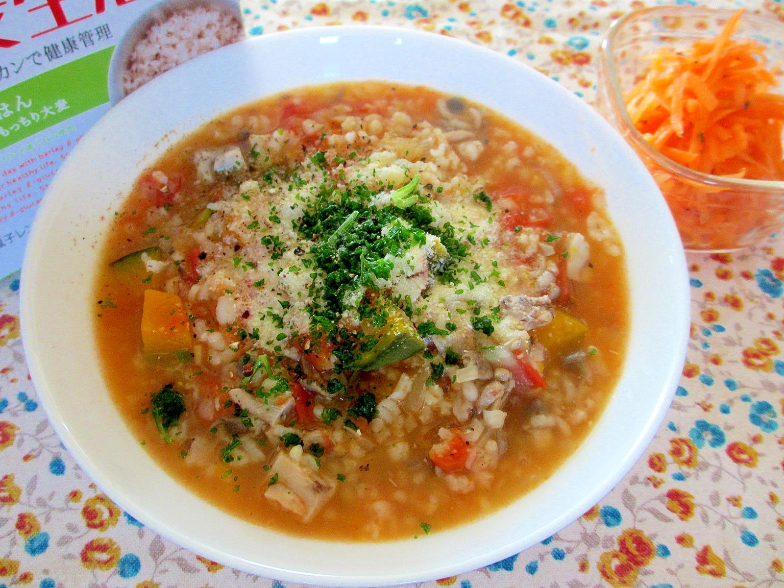 大麦生活かぼちゃとトマトのスープご飯
