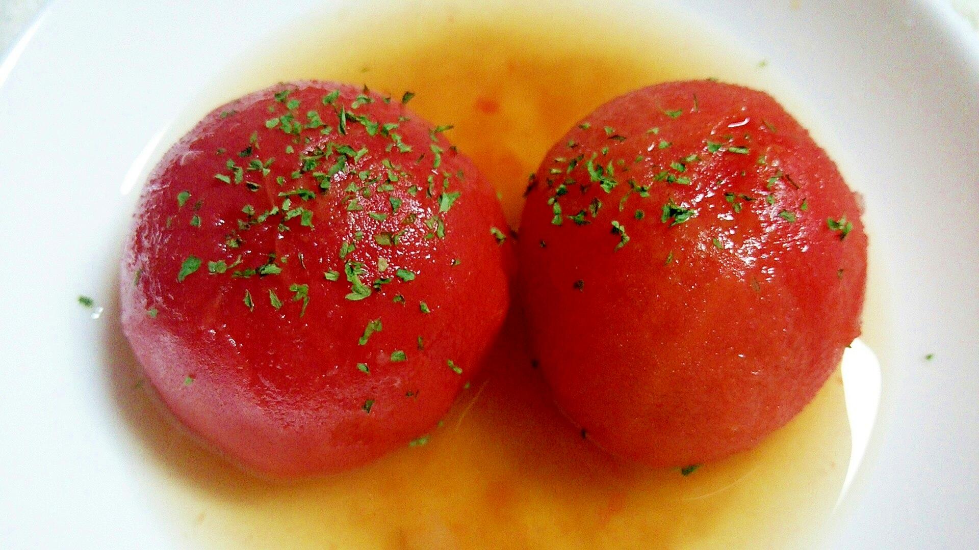 夏はひやしで!冬はあったかホットで! トマトおでん レシピ・作り方
