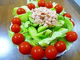 レタス&ツナ&きゅうり&塩昆布&ミニトマトのサラダ