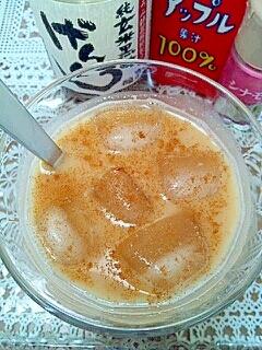 アイス☆黒酢&りんごきなこミルク♪