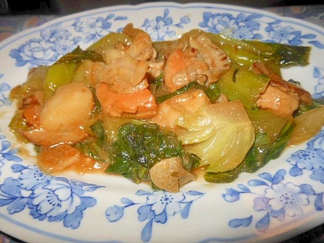 青梗菜とホタテの中華味蒸し煮
