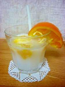 オレンジの果肉ゴロゴロ*オレンジ・カルピスソーダ*