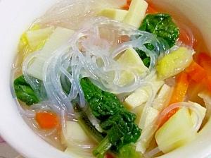 納豆のタレ使用。具沢山♪春雨スープ