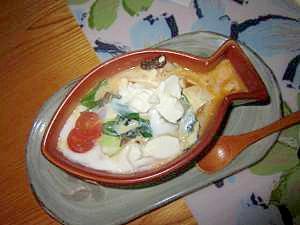 豆腐と卵で海老茶碗蒸し