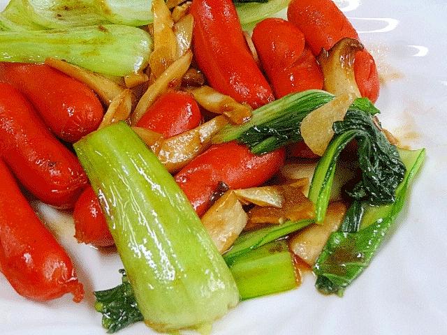 5. チンゲンサイと赤ウインナーの牡蠣醤油炒め