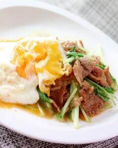 半熟卵とろ~り★カリカリ豚バラ肉のガーリックバター醤油焼き!GBS!