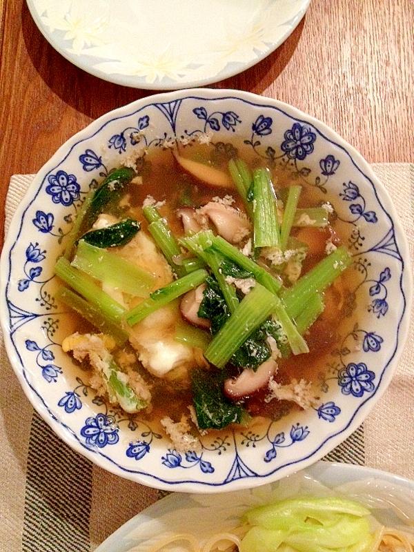 1. しいたけと小松菜のコンソメスープ