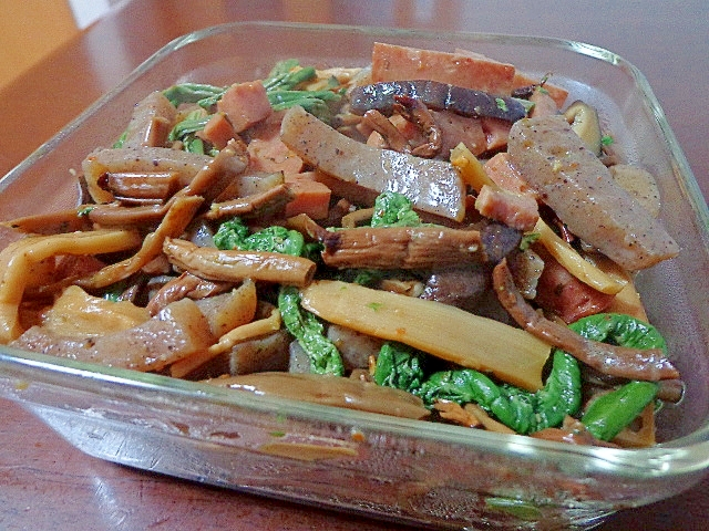 山菜とスパムのピリ辛煮♪