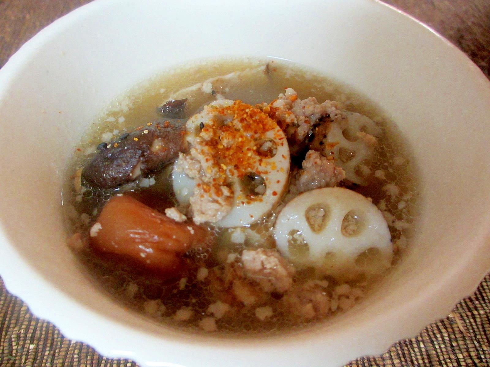 ひき肉とレンコンの梅スープ