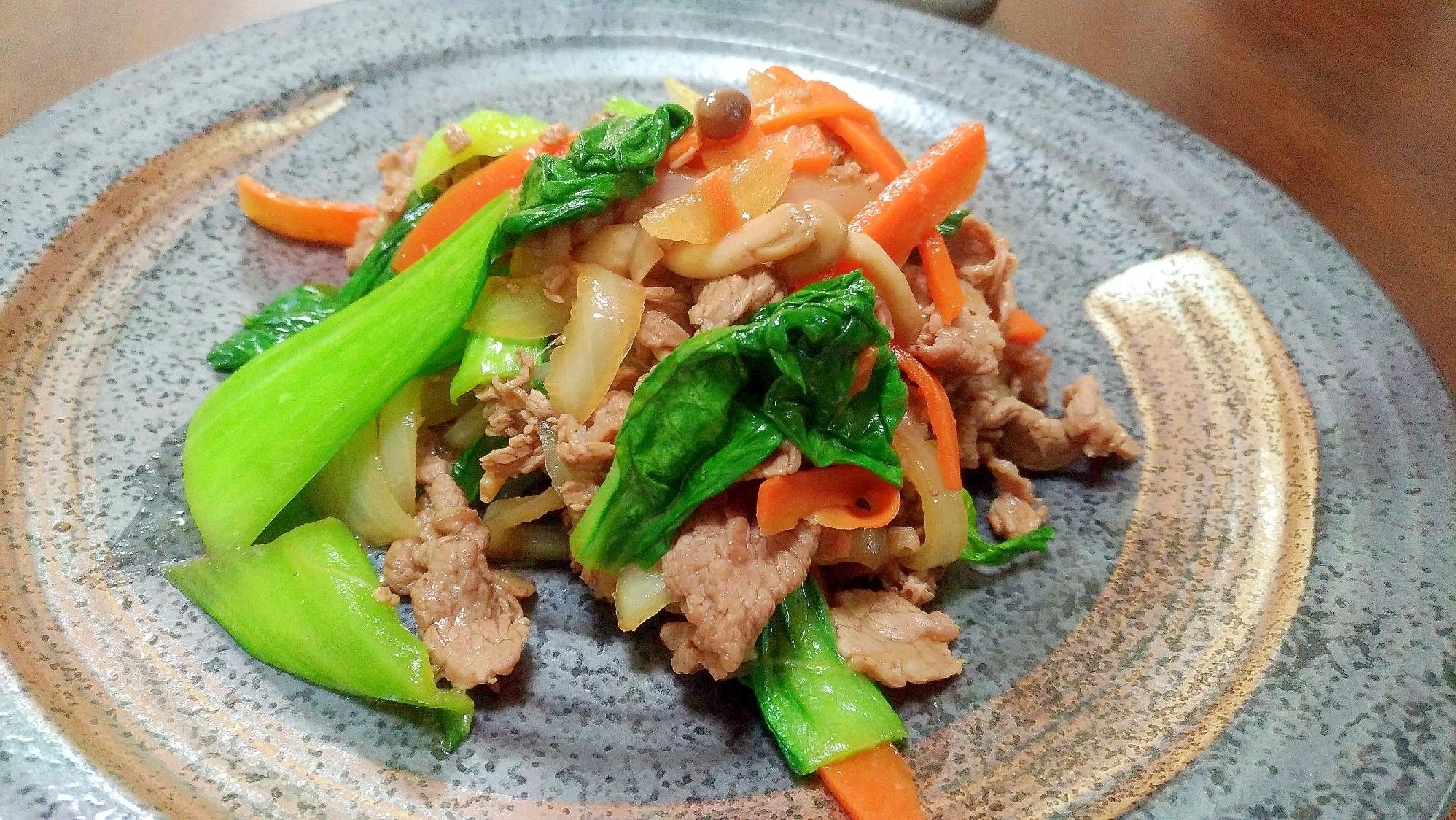 3. 青梗菜と牛肉のオイスターソース炒め