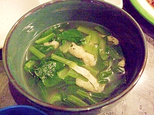 風邪予防対策☆小松菜たっぷり油揚げのおつゆ