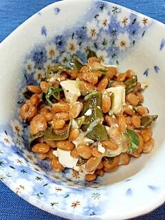 納豆の食べ方-クリームチーズ&めかぶ♪