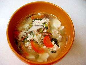*鶏団子と野菜の春雨中華スープ*