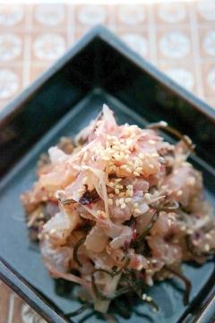 簡単♪昆布〆鮮魚の梅みょうが和え