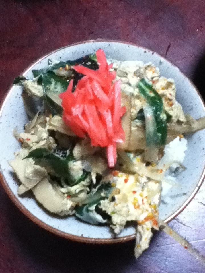 ゴボウと高野豆腐とニラの豚玉丼
