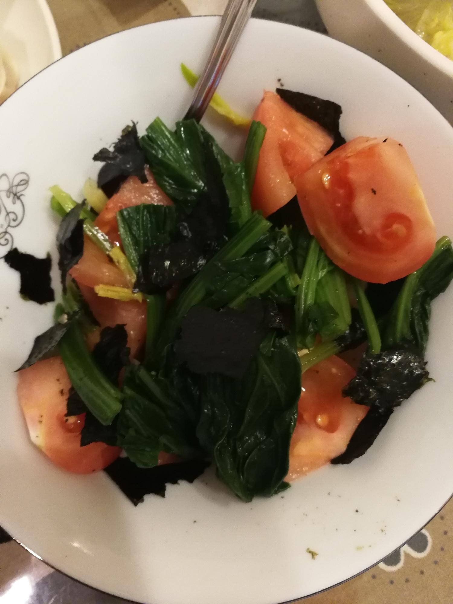 トマトとほうれん草と海苔の和風サラダ レシピ・作り方 by やまもり 楽天レシピ
