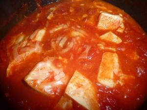 あったまるピリ辛トマト豆腐スープ