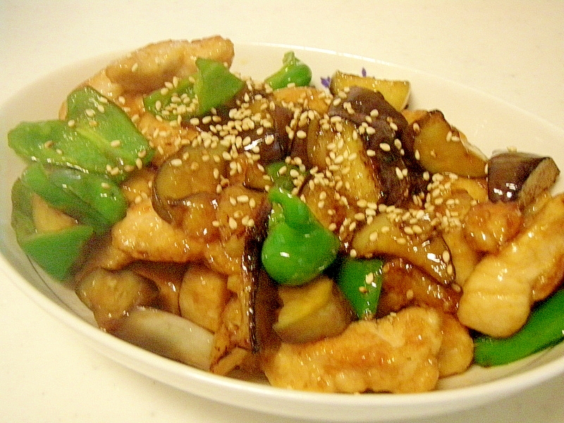 鶏むね肉となす・ピーマンの中華風炒め