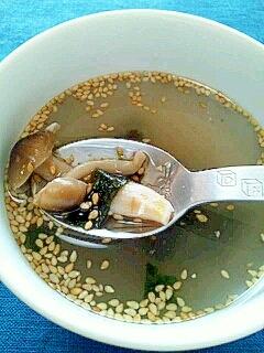 塩麹きのこで☆海苔ごま塩麹きのこスープ♪