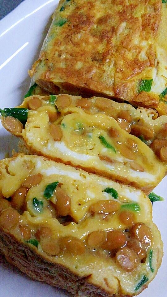 栄養満点★納豆とニラの簡単卵焼き