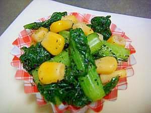 【お弁当】小松菜&コーンのゴマ和え☆レンジで簡単☆