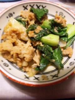 豚味噌とチンゲンサイの炒め物