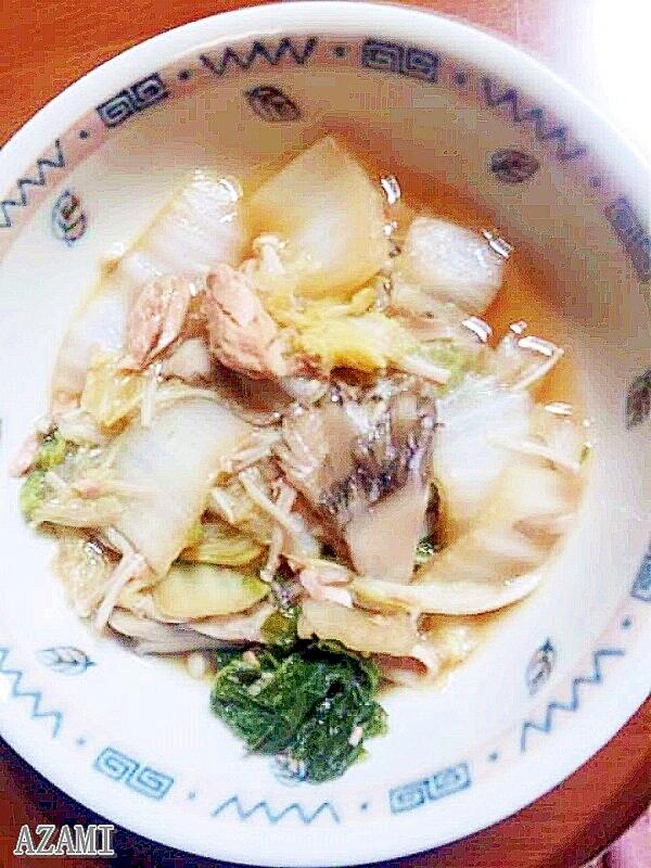 白菜と舞茸・エノキのシーチキン入り鍋