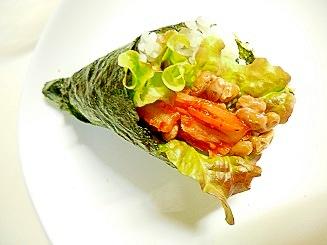 納豆キムチ手巻き寿司