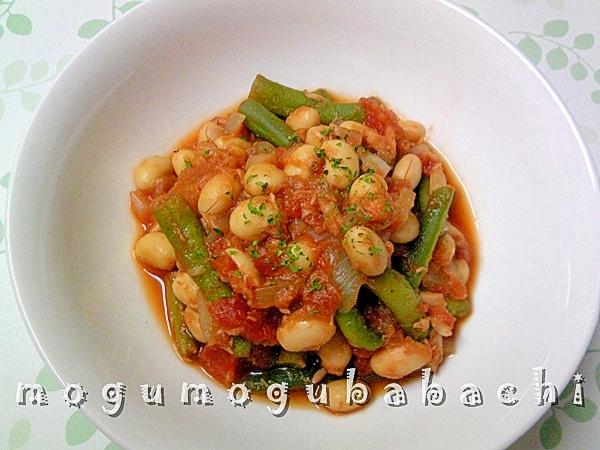 大豆とツナのトマト煮込み