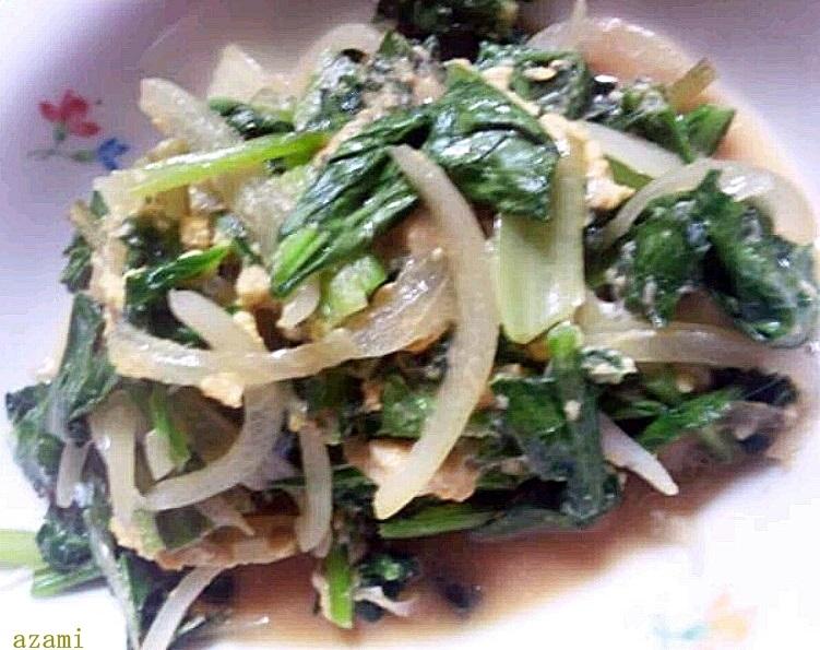小松菜と玉ねぎの卵とじ炒め