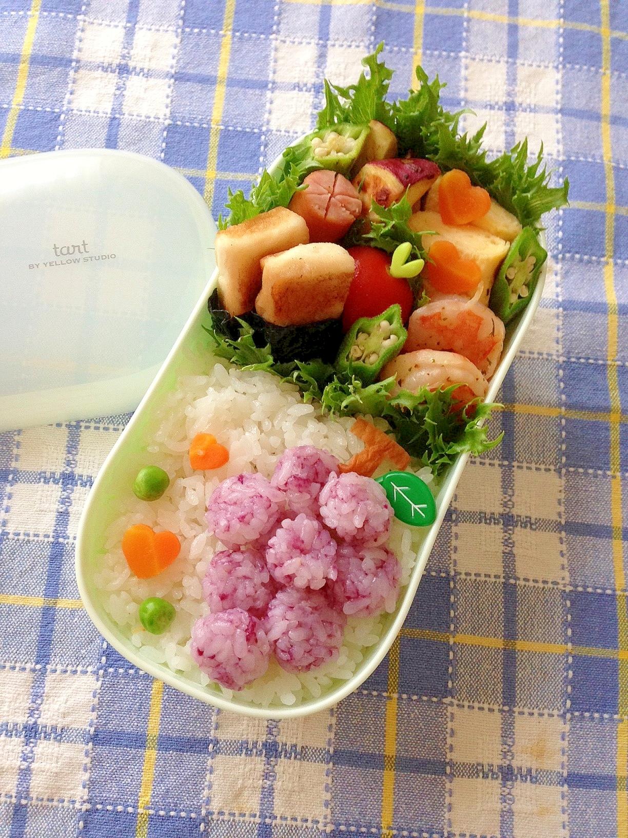 簡単キャラ弁☆秋の味覚!?ぶどうのお弁当♪