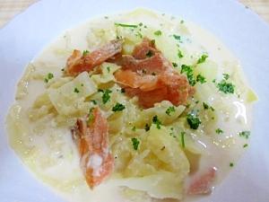 圧力鍋で~キャベツ・じゃが芋・鮭のミルクスープ