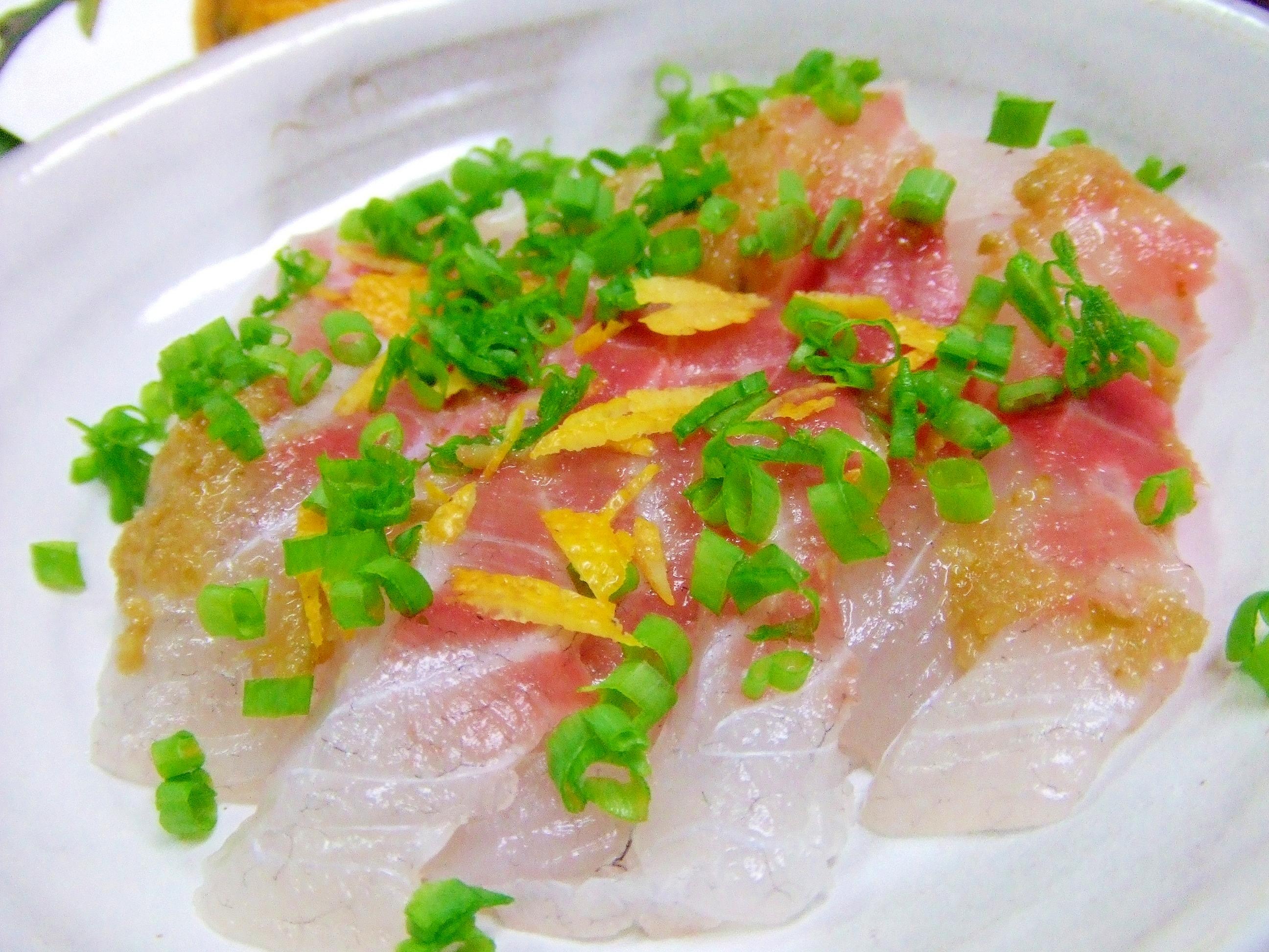 柚子胡椒で鯛の刺身