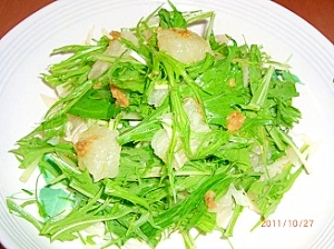 水菜とグレープフルーツのサラダ