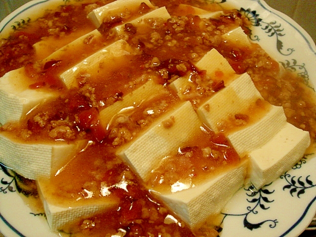 豆腐のきゅうりのキューちゃん入り醤油あんかけ