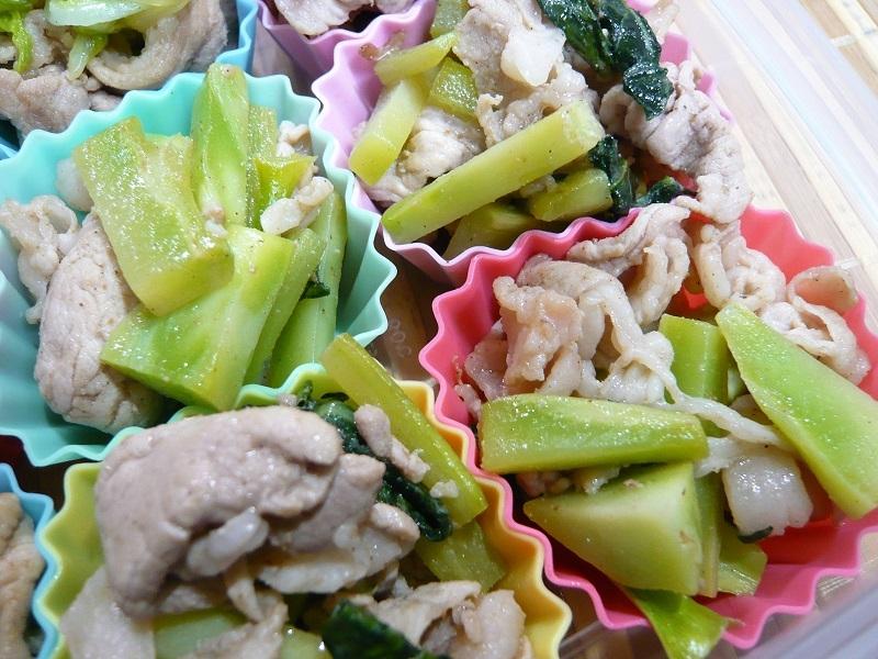 2. 葉と茎の豚肉炒め