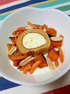 変り種☆かぼちゃロールケーキ&柿の種のヨーグルト♪
