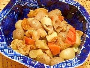 玉こんにゃく入り根菜の煮物