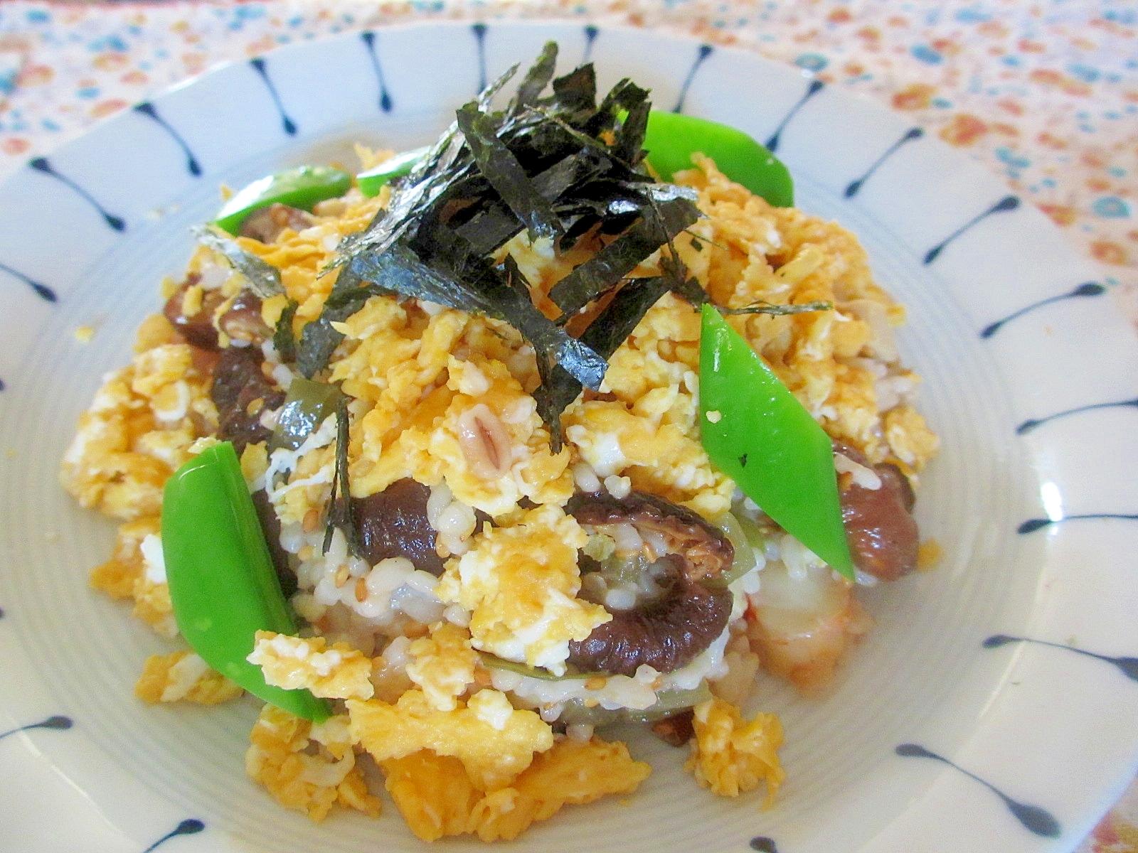 蕗と高野の煮物で炒り卵ちらし寿司