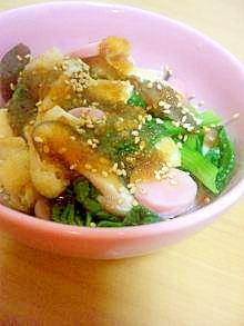 蒸し野菜と油揚げのあっさりおろしポン酢がけ*