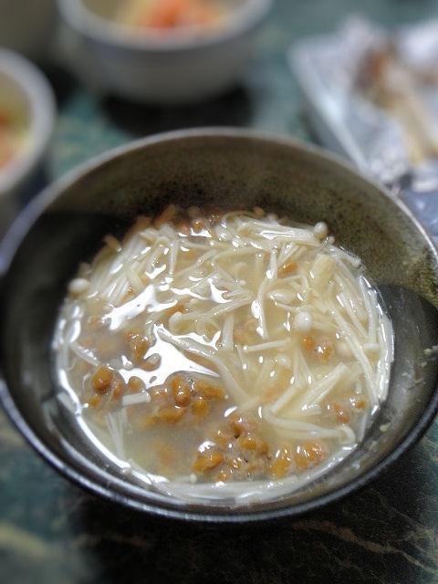 エノキと納豆のダイエット味噌汁