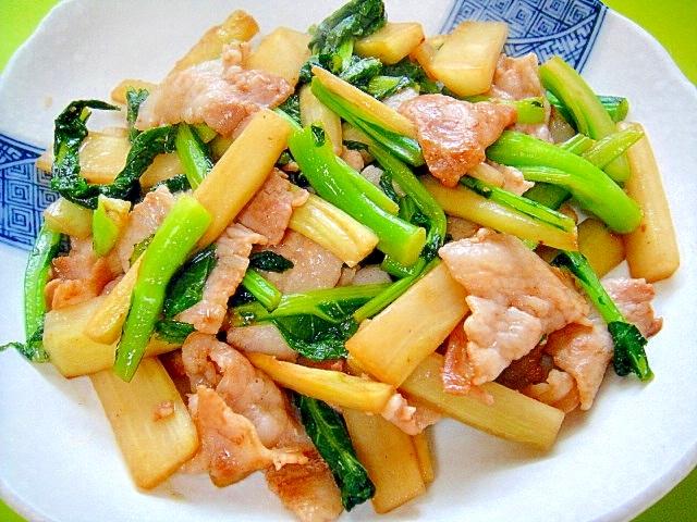 うどとかき菜豚肉の中華炒め