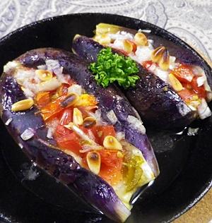 茄子のピリ辛野菜詰め焼き