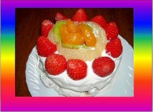 いちごとキウイとみかんのケーキ
