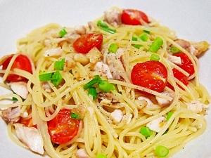 干物とミニトマトのパスタ