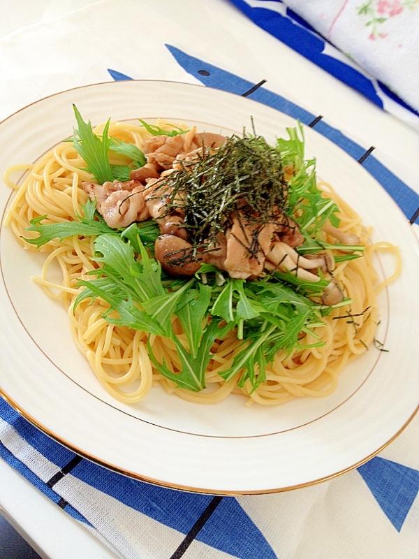 豚肉と水菜のマーガリンポン酢パスタ